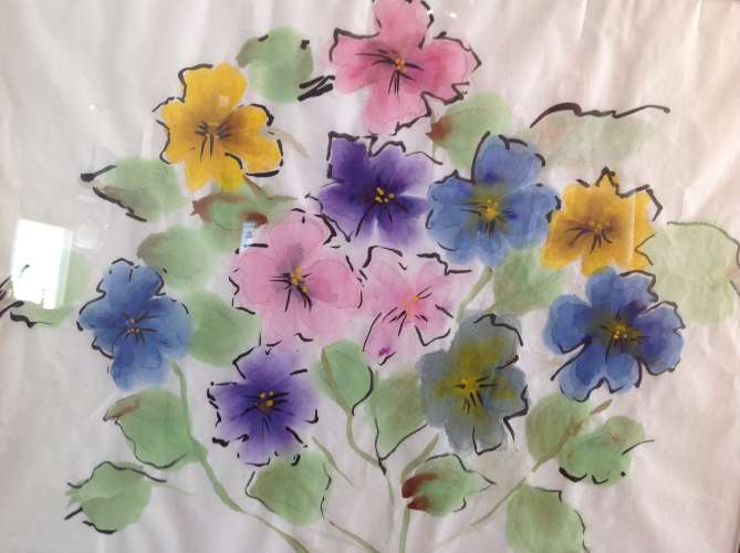 "Chinese Pansies, Watercolour, 19 1/2"" x 22 1/2"", $$150.0000"