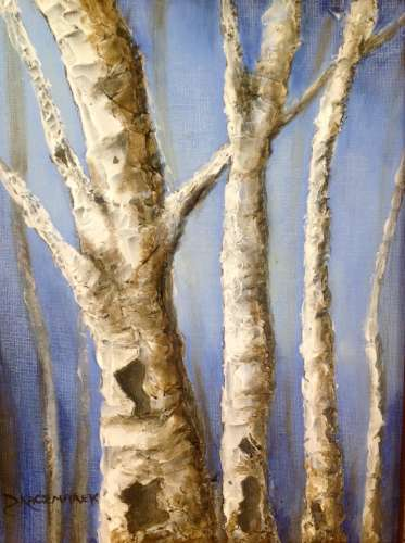 "Birches on Blue, Acrylic and Matte Paste, 12""X15"" (framed: Same), $$150.0000"
