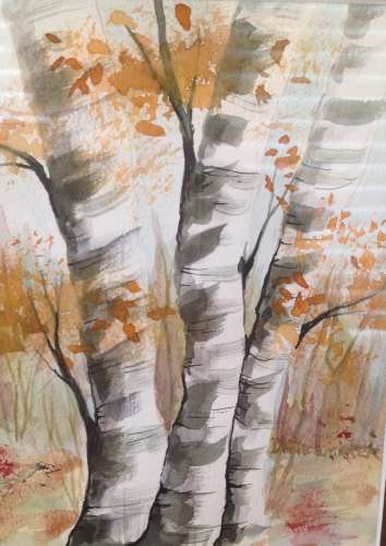 "Cottage Birches, Watercolour, 10""X12"" (framed: Same), $$0.0000"