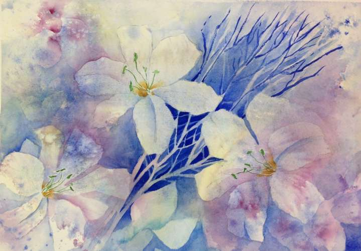"A Riot of Lilies, Watercolour, 20""X16 1/2"" (framed: As Above), $$350.0000"