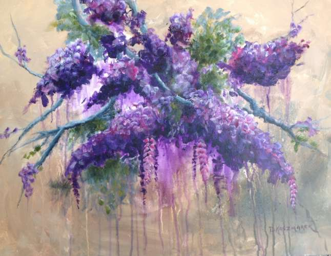 "Lilacs and Wisteria in Violet, Acrylic, 25 1/2"" X 19 1/2"", $$450.0000"