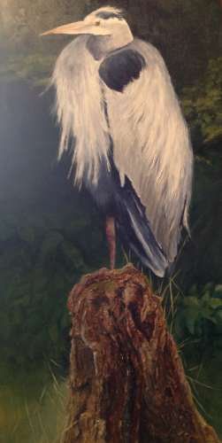 "Great Blue Waiting, Acrylic on Wood, 35 3/4""X18"", $$525.0000"