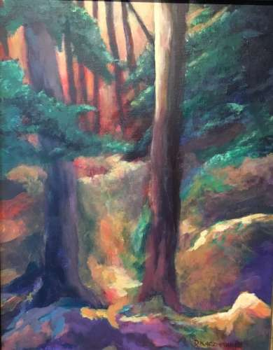 "Light in the Forest, Acrylic, 14"" X 18"", $$375.0000"