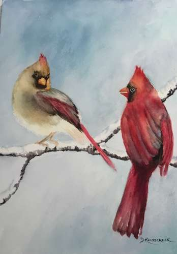 Cardinals, Watercolour, $$150.0000