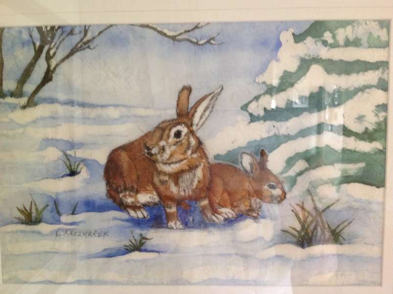 RABBITS IN A SNOWSCAPE